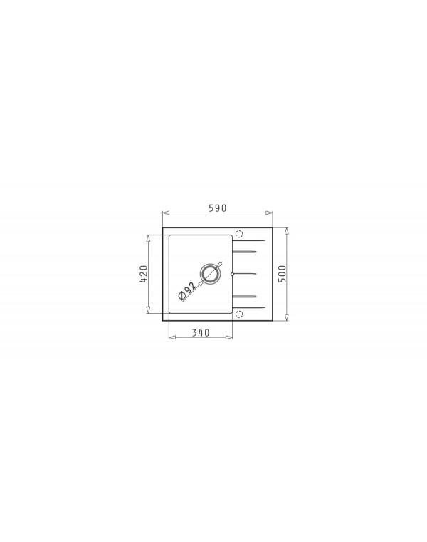 Гранитна мивка Pyramis ALAZIA (59x50) 1B 1D