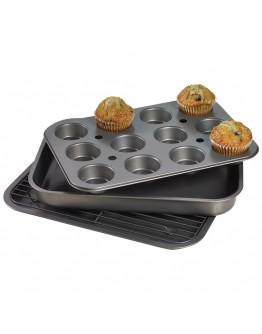 Комплект тави, форма и скара за печене Kinghoff KH 1409, 4 части, Незалепващо покритие, Черен