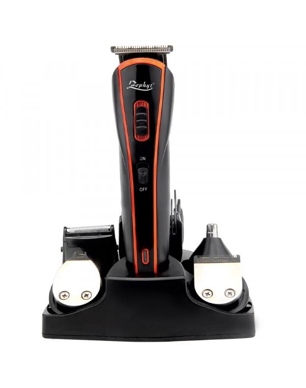 Комплект за бръснене и подстригване 5в1 ZEPHYR ZP 1810 BT, Тример за нос, Тример за детайли, Приставка за бръснене, Аксесоари, Черен/оранжев