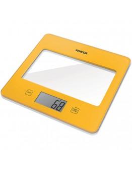 Кухненска дигитална везна Sencor SKS-5026YL, 5 кг, LCD екран, Включена батерия, Жълт