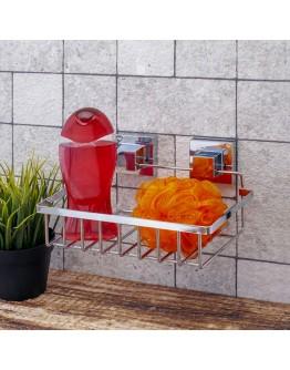 Етажерка за баня на 1 ниво TEKNO TEL EF 241, 24х15х13 см, Двойно залепване, Хром