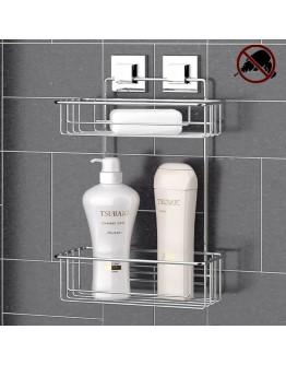 Етажерка за баня на 2 нива TEKNO TEL TR EF 256, 25х15х39 см, Двойно залепване, Хром