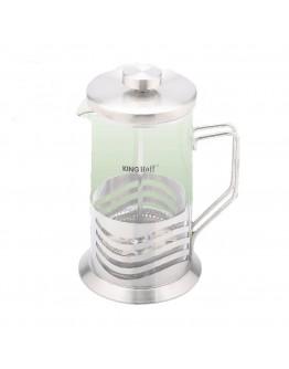 Френска преса за чай и кафе Kinghoff KH 4834, 600 мл. Огнеуп.стъкло/Метал, Сребро