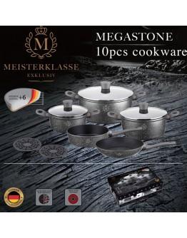 Комплект съдове Peterhof Meisterklasse Megastone Touch MK 1016, 10 части, Незалепващо покритие, Сив