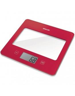 Кухненска дигитална везна Sencor SKS-5024RD, 5 кг, LCD екран, Включена батерия, Червен