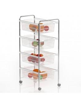 Кухненска количка органайзер TEKNO TEL MG 010, 4 кошници, Колелца, Хром