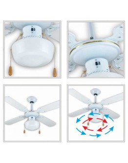 Вентилатор за таван с лампа SAPIR SP 1760 4C1L, 50W, 106 см, 3 степени, Бял