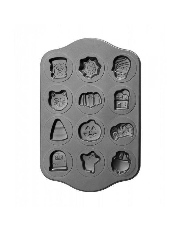 Форма за мъфини с фигурки за Хелоуин IBILI IB 827700, 12 форми, Незалепващо покритие, Черен