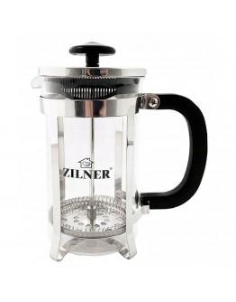 Френска преса за чай и кафе Zilner ZL 4752 T, 600 мл. Стъкло/Стомана, Черен/Сребрист