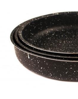 Комплект тави за печене RIV 2637-7, 28/30/32 см, Мраморно покритие, Черен