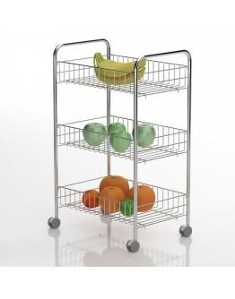 Кухненска количка органайзер TEKNO TEL MG 003, 39х65х26 см, 3 кошници, Колелца, Хром