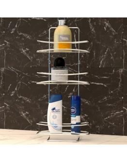 Правоъгълна етажерка за баня на 3 нива TEKNO TEL BK 006, 25х10х55 см, Закрепване с дюбел, Хром