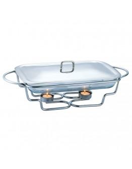 Стъклен съд за затопляне на храна Kinghoff KH 1410, 3 литра, 2 свещи, Инокс