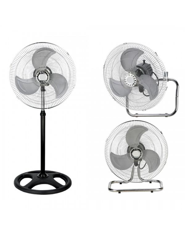 Вентилатор 3в1 SAPIR SP 1760 M16-3, 55W, 40 см, 3 скорости, На стойка/настолен/за стена, Спици, Черен/сребрист
