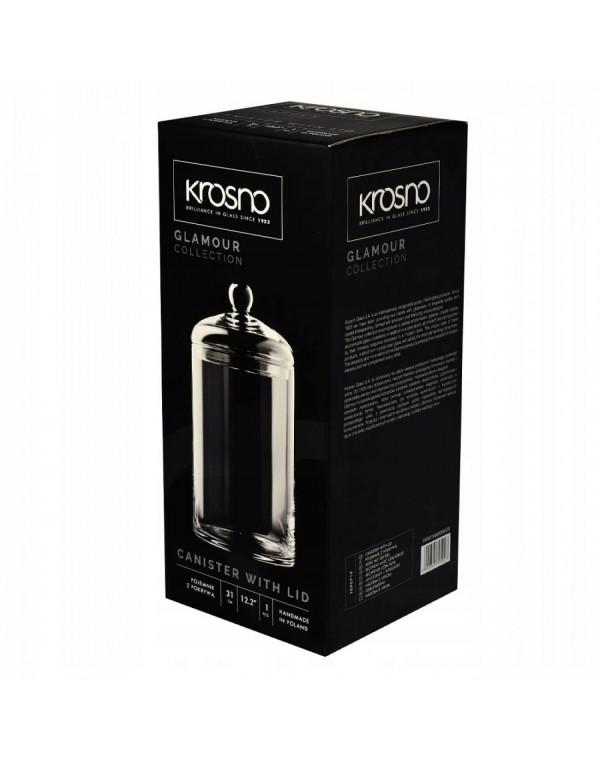 Висок съд за съхранение с капак Krosno Glamour FKP0719000006020, 15х31 см, Кристалин