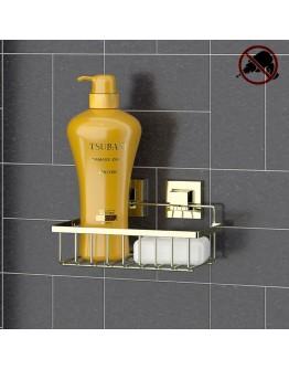 Етажерка за баня на 1 ниво TEKNO TEL EF 241G, 24х15х13 см, Двойно залепване, Златист