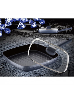 Грил тиган с капак Peterhof Meisterklasse Diamond MK 1038-28, 28x28 см, Гранитно покритие, Релеф диамант, Индукция, Сив