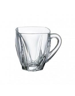 Комплект чаши за кафе и чай с дръжка Bohemia Neptune Cup, 6 бр, 150 мл, Кристалит