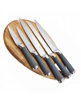 Комплект ножове с дървена поставка Kassel K 93306, 6 части, Неръждаема стомана, Сребрист/Сив
