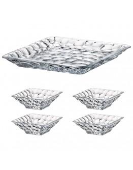 Комплект плато и купи Bohemia Marble Bowl Set 1+4, 1х26 см, 4х11 см, Кристалит