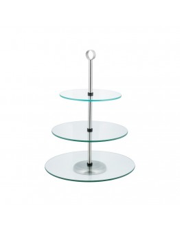 Поставка за сладки на 3 нива Kinghoff KH 4016, 20,25,30х39 см, Закалено стъкло