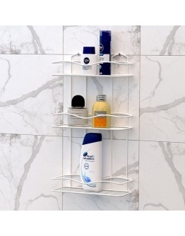 Правоъгълна етажерка за баня на 3 нива TEKNO TEL BK 013, 30х12х54 см, Закрепване с дюбел, Бял