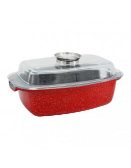 Ростер с мраморно покритие ZEPHYR Red Passion ZP 4321 EM32A, 32 см, 5 литра, Дозатор за течности, Червен