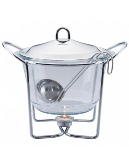 Стъклен съд за затопляне на храна Kinghoff KH 1413, 4 литра, 1 свещ, Черпак, Инокс