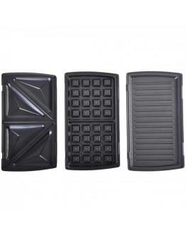 Уред за гофрети, сандвичи и скара 3в1 Camry CR 3024, 750W, Незалепващи плочи, Черен/инокс
