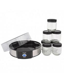 Уред за приготвяне на кисело мляко Adler AD 4476, 20W, 1.4 л, 7 бурканчета, Черен/Сребрист