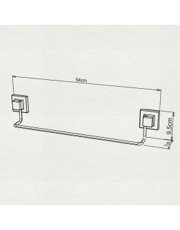 Закачалка за кърпи TEKNO TEL EF 260B, 54х7х10 см, Двойно залепване, Черен