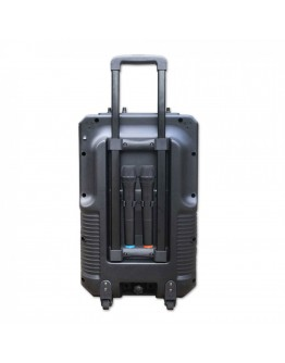 Караоке тонколона с цветен LED екран ZEPHYR ZP 9999 E, 8 инча, Активна, Bluetooth, MP3, 2 бр. безжични микрофона, 12V/4.5Ah, Черен