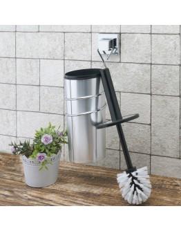 Комплект четка за тоалетна и държач TEKNO TEL EF 094, 10x15x38 см, Двойно залепване, Хром