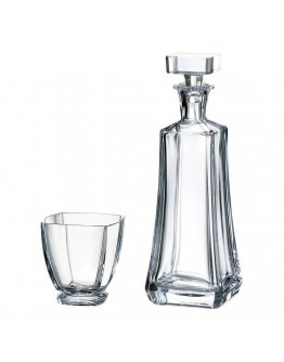 Комплект гарафа за уиски + чаши Bohemia Arezzo Whiskey Set 1+6, 700 мл, 6 чаши х 320 мл, Кристалит