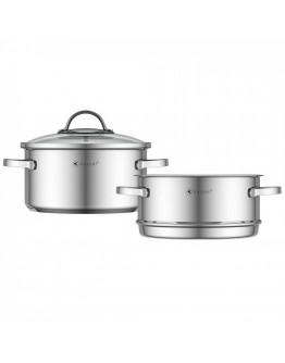 Тенджера за готвене на пара Kassel Alice K 93011, 20 см, 3.2 литра, 3 части, Дебело дъно, Инокс