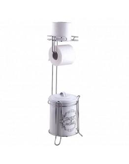 Двойна поставка за тоалетна хартия и кофа за боклук TEKNO TEL MG 095, Хром