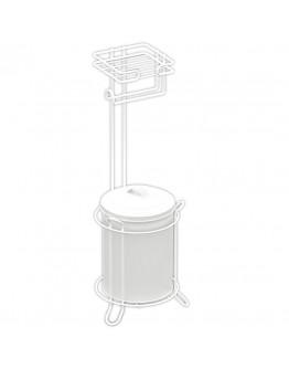 Двойна поставка за тоалетна хартия и кофа за боклук TEKNO TEL MG 095W, 3 л, 20х20х57 см, Бял