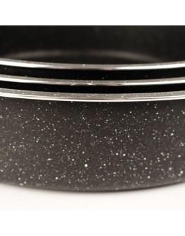 Комплект тави за печене Impoamor RI 2617-1, 3 броя, 28/32/36 см, Мраморно покритие, Черен