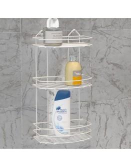 Правоъгълна етажерка за баня на 3 нива TEKNO TEL BK 009W, 24х15х50 см, Закрепване с дюбел, Бял