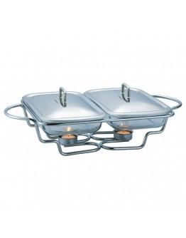 Стъклен съд за затопляне на храна Kinghoff KH 1412, 2х1.5 литра, 2 свещи, Инокс