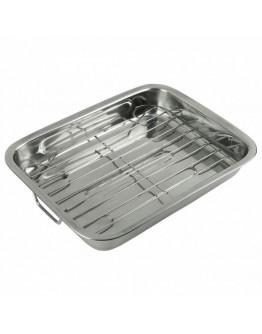 Тава за печене с дръжки и подвижна решетка-грил KingHoff KH 1377, 36 см, Неръждаема стомана, Сребрист