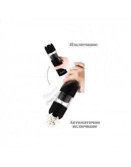 Автоматична мелница за сол или пипер Klausberg KB 7436, 6xAAА батерии, Керамична глава, Черен