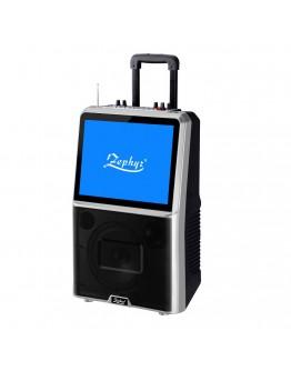 """Караоке тонколона с цветен LED екран Zephyr ZP 9999 ETV, 8"""" TV тунер, Активна, Bluetooth, MP3, 2 бр. безжични микрофона, 12V/4.5Ah, Черен"""