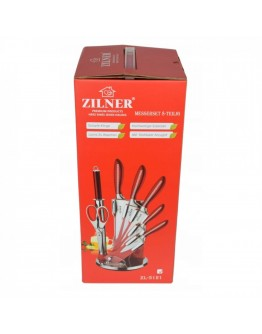 Комплект ножове с поставка Zilner ZL 5121, 8 части, Точило, Ножици, Неръждаема стомана, Червен