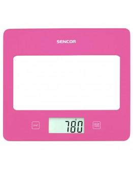 Кухненска дигитална везна Sencor SKS-5028RS, 5 кг, LCD екран, Включена батерия, Розов