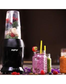 Нутри Блендер екстрактор ZEPHYR ZP 1162 O, 1200W, 25000 об/мин, чаша 1 литър, чаша 0.8 литра, BPA Free, Черен