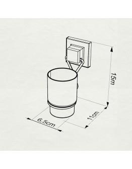 Поставка за четки за зъби TEKNO TEL EF 274B, 7х11х15 см, Двойно залепване, Черен
