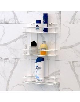 Правоъгълна етажерка за баня на 3 нива BK 019W, 30х12х55 см, Закрепване с дюбел, Бял