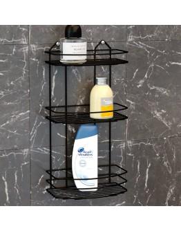 Правоъгълна етажерка за баня на 3 нива TEKNO TEL BK 009B, 24х15х50 см, Закрепване с дюбел, Черен