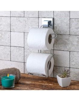 Двойна поставка за тоалетна хартия TEKNO TEL EF 282, 13х14х29 см, Двойно залепване, Хром